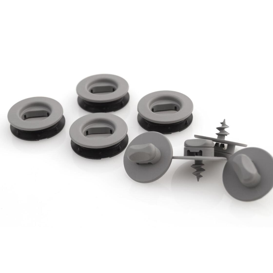 fu matten drehknebel oval grau befestigung halter 12 teilig. Black Bedroom Furniture Sets. Home Design Ideas