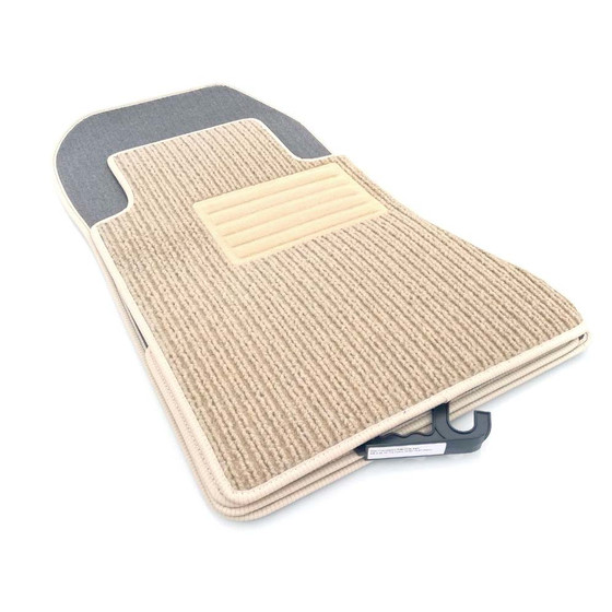 Fußmatten passend Mercedes W123 Limousine Kombi Velours Automatte 2-teilig Beige
