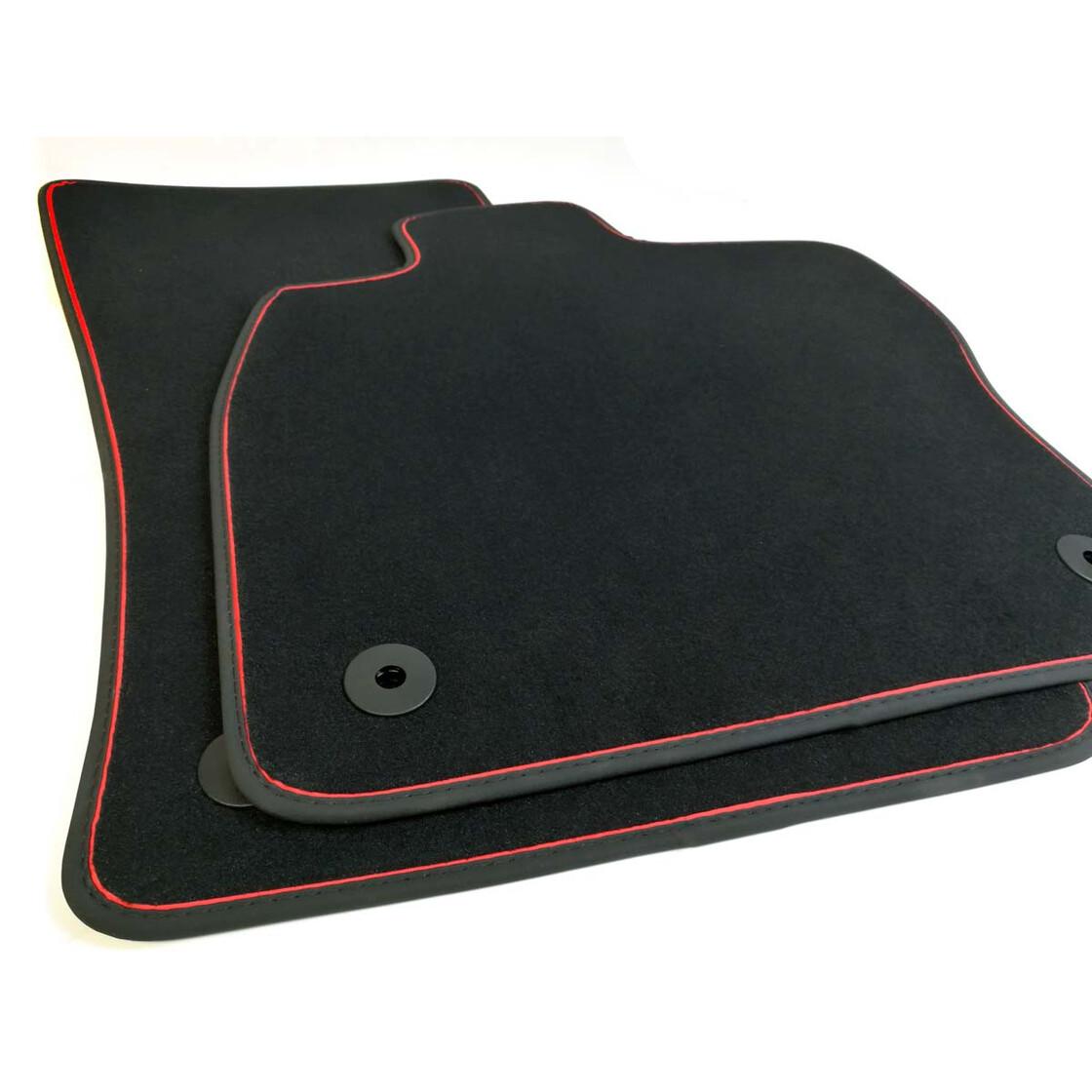 vw polo 6 fu matten premium automatten zierband rot. Black Bedroom Furniture Sets. Home Design Ideas