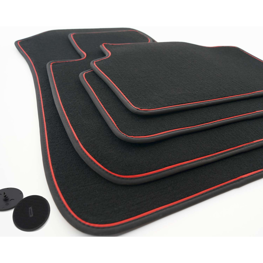 bmw 3er e90 2005 2013 fu matten velours zierband rot. Black Bedroom Furniture Sets. Home Design Ideas